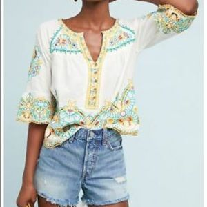 ANTHROPOLOGIE BISBEE EMBROIDERED BLOUSE TOP